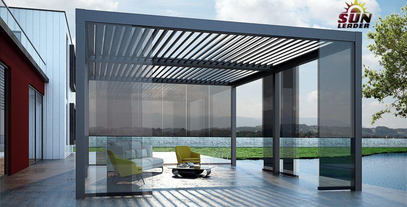Pergole bioclimatice cu lamele de aluminiu pentru terase. Pergole de aluminiu Sun Leader