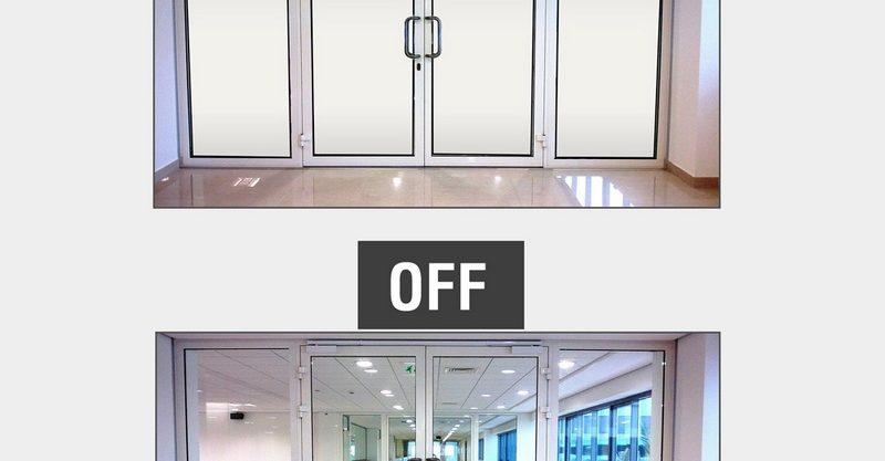 Folie transparent opaca pentru suprafete de sticla: protectie vizuala si proiectie grafica. Sun Leader